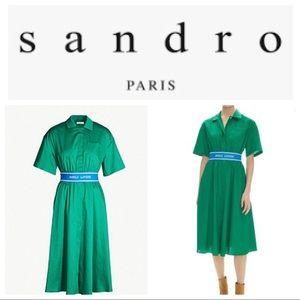 Sandro Sofiane Short-sleeve Cotton Dress In Green